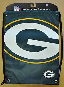 Green Bay Packers Back Pack/Sack Drawstring Bag/Tote NEW Backpack BIG LOGO