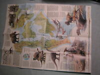 NORTH AMERICA IN THE AGE OF DINOSAURS MAP National Geographic  January 1993 MINT