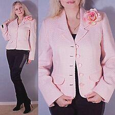 PASTEL PINK Tweed ROSE Crop Checks Plaids Jacket Coat Blazer Sag Harbor Sz 8