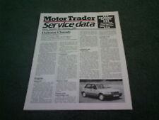 October 1986 Daihatsu Charade MOTOR TRADER SERVICE DATA FOLDER - Brochure
