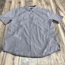 Mens Prana Blue Short Sleeve Button Front Shirt Size 2XL XXL Slim Fit