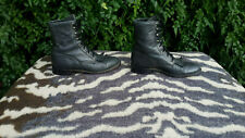 Vintage Justin Dark Grey Tassel Lace Up leather ankle boots UK size 4 EU 37