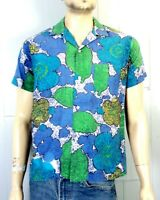 vtg 50s NoFade MINTY Loop Collar Rockabilly Shirt SS Wild Paisley Vivid VLV sz M