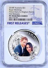 2018 Royal Wedding Prince Henry Ms. Meghan 1oz $1 SILVER PROOF COIN NGC PF70 FR