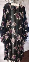 NEW Plus Size 1X Black Floral Kimono Duster Topper Purple Jacket