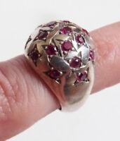 Bague chevaliere ancienne ARGENT massif et rubis forme dome étoile Art Deco ring
