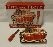 Fitz and Floyd Merry & Bright Holiday Plate Cheese Tray & Spreader Christmas