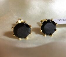 6.5 Ct, Black Spinel Earrings, Stud, 14K Yellow Gold Over Sterling Silver, 1 Cm