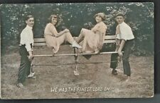 1912 We Had the Finest Load On The Park Bench Sexy Ladies Romantic Postcard