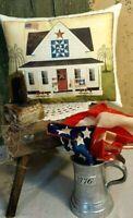 PRIMITIVE VINTAGE FOLK ART STYLE HOMESTEAD COTTAGE FARMHOUSE AMERICANA PILLOW