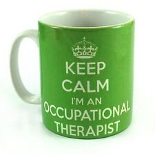 KEEP CALM I'M AN OCCUPATIONAL THERAPIST OT GREEN GIFT MUG CUP AND CARRY ON RETRO