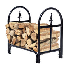 2 Feet Outdoor Heavy Duty Steel Firewood Log Rack Wood Storage Holder Black