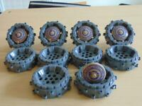 10 x Genuine Lego Grey Plastic Hard Wheels 64711 + 5 Tan Inverted Dishes