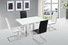 Walton Modern High Gloss White Dining Table with Stainless Steel Base Furniture