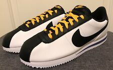 Nike Cortez Basic Leather Athletic Shoes SZ 12- White Black Amarillo-BV2527 100