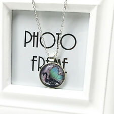 Fashion Dragon CABOCHON Tibetan Silver Glass Chain Round Pendant Necklace Gift