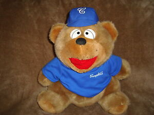 """Campbell's Soup Exclusive Plush Brown Bear in Blue Shirt 12"""" tall"""