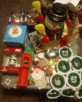 Large Assorted Lot of Mostly Vintage Christmas Decorations Ornaments