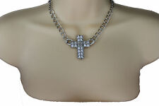 Women Silver Fashion Necklace Metal Chain Charm Cross Pendant Bling Rhinestones