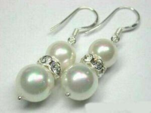 Natural 10mm White South Sea Shell Pearl Round Gemstone Earrings AAA+