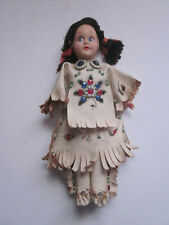 "VINTAGE 7"" TALL HARD PLASTIC PAINTED EYES NATIVE AMERICAN INDIAN GIRL DOLL"