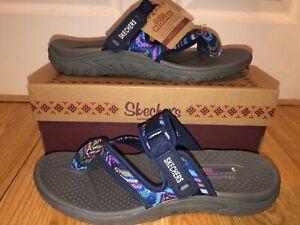 NEW Skechers Reggae Flip Flops Sandals Women's Size 10 M NAVY 40974 Sparkle Swag