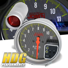 "Universal Jdm 5"" Carbon Style Face Tachometer Gauge With Shift Light 11K Rpm"