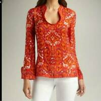 Tory Burch Womens Ikat Stephanie Tunic Top Orange Long Sleeve Sequined Blouse 10