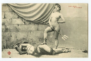 c 1910 French Risque Nude ROMAN LADY Gladiators Arena Victor photo postcard 5