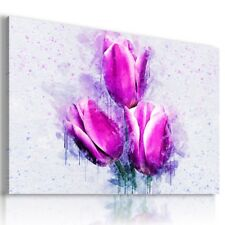 PURPLE FLOWERS TULIPS ABSTRACT MODERN CANVAS WALL ART PICTURE AB762 X MATAGA