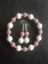 Pink 8mm Miracle Glow & White Ab Acrylic Bead Stretch Bracelet & Earrings Set