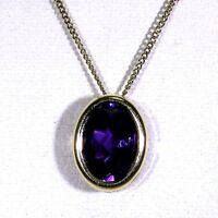 Pretty Oval Amethyst 9ct Yellow Gold Slider Pendant + Curb Chain