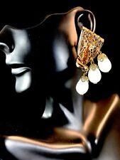 NAPIER PAT PEND GOLD-TONE MILK GLASS BEAD TRIPLE DANGLE BEAD BOW CLIP EARRINGS