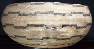 "Large POMO WASHOE CALIFORNIA Indian Storage Basket 13"" x 5.5"" 1880-1910 X-MUSEUM"