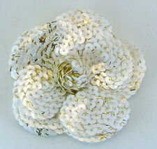 CHANEL CAMELIA OF WHITE SEQUINS, STICKER BACK, PROMOTIONAL GIFT 3 X 3 INCHES