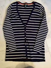 Ralph Lauren Womens XL 16 Blue Lauren Pink White Stripe Button Cotton  Cardigan