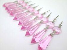 30 Pink Chandelier Glass Crystals Lamp Prisms Parts Hanging Drops Pendants 38mm