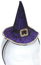 MINI PURPLE WITCH HAT HEADBAND Cap Costume Halloween Black Pointy Spider Web Net