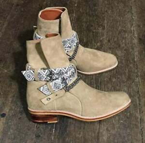 Handmade Men Beige Suede leather ankle chain boots, Ankle Strap Boots