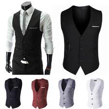 Hot Men's Formal Business Suit Vest Slim Wedding Casual Waistcoat Jacket Coat