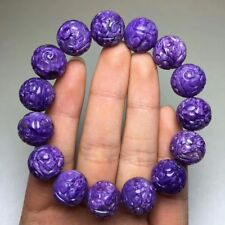 Natural Purple Charoite Gemstone Round Carved Beads Bracelet 14mm AAAA