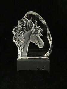 NEW- Horse Head Crystal Etched Iceberg With Led Light Basea