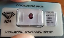 IGI Certified 1.03 carat  Natural Reddish Purple Transparent Oval Cut Sapphire