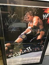 WWF Guaranteed Authentic Triple H Autographed Calendar Framed Numbered 55 00422