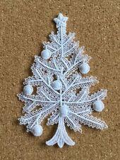 Christmas, Tree & Baubles, cotton lace sew-on motif, appliqué, patch