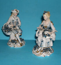 Sitzendorf Porcelain Figurines - Pair Of Attractive Figurines In Classic Poses.