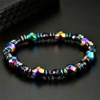 Multicolor Crystal Healing Magnetic Stretchy Bracelet Beads Hematite Root Chakra