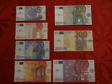 Set of 7 Euro Facsimil notes scheine Billets Billetes Deputacio Barcelona 2001