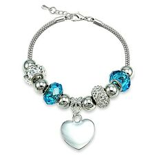 Blue Crystal & Glass Bead Heart Charm Bracelet
