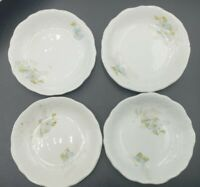 """J & G Meakin England Set of 4 Antique Ironstone China Butter Pats 3"""" Blue Flower"""